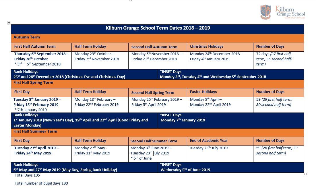 Term Dates – Kilburn Grange School
